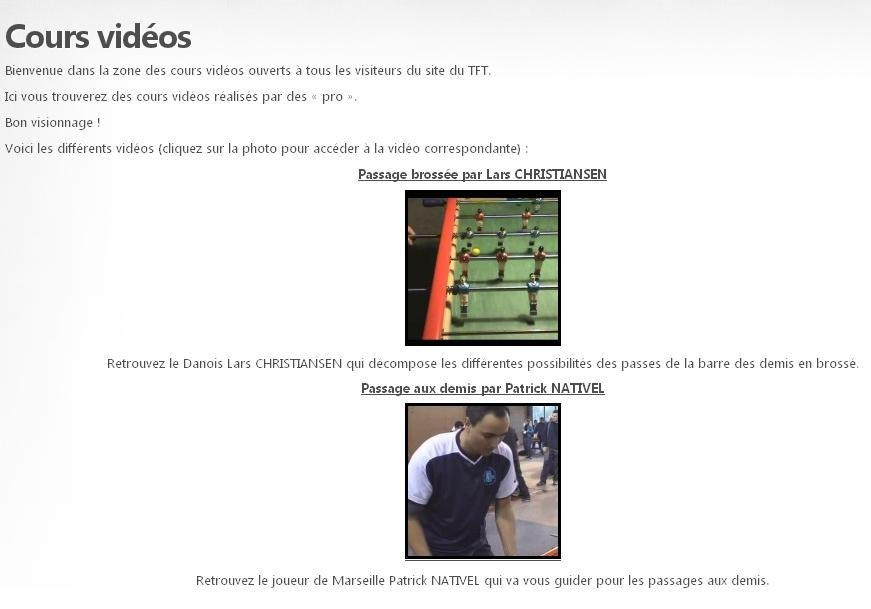 Des cours vidéos disponibles