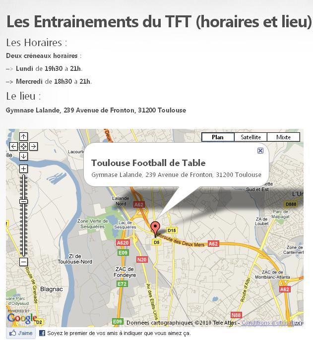 Les Entrainements du TFT (horaires et lieu)